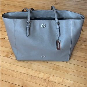 Coach turnlock taupe tote